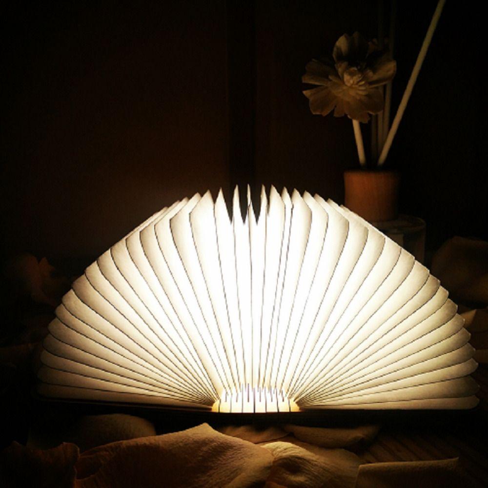 USB innovador LED Recargable Plegable De Madera Forma Libro Booklight Lámpara de Escritorio Luz de Noche para la Decoración Del Hogar Luz Blanca Cálida