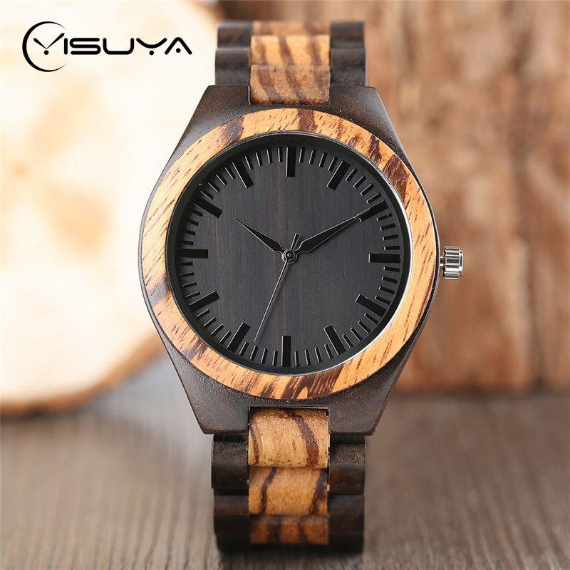 YISUYA montres de luxe en bois pour hommes Vintage analogique Quartz fait à la main noyer bambou bois bande montre-bracelet horloge cadeaux Reloj