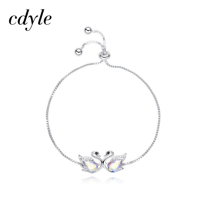 Cdyle Crystals from Swarovski Women Bracelets & Bangles Couple Swan Austrian Rhinestone S925 Sterling Silver Fashion Jewelry