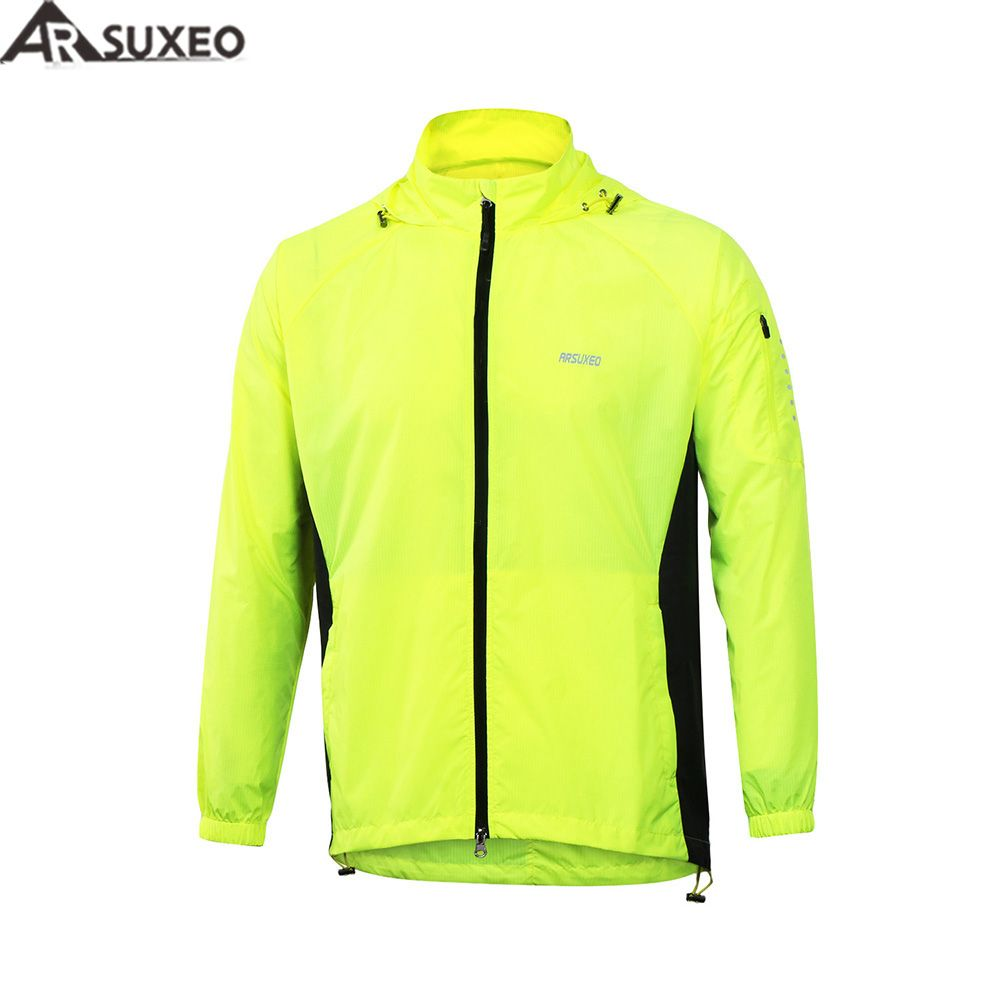 2017 ARSUXEO Men Outdoor Sports Running Jacket Windproof Waterproof Pack Cycling Jacket Bike Bicycle Clothing coat clothes M17C1