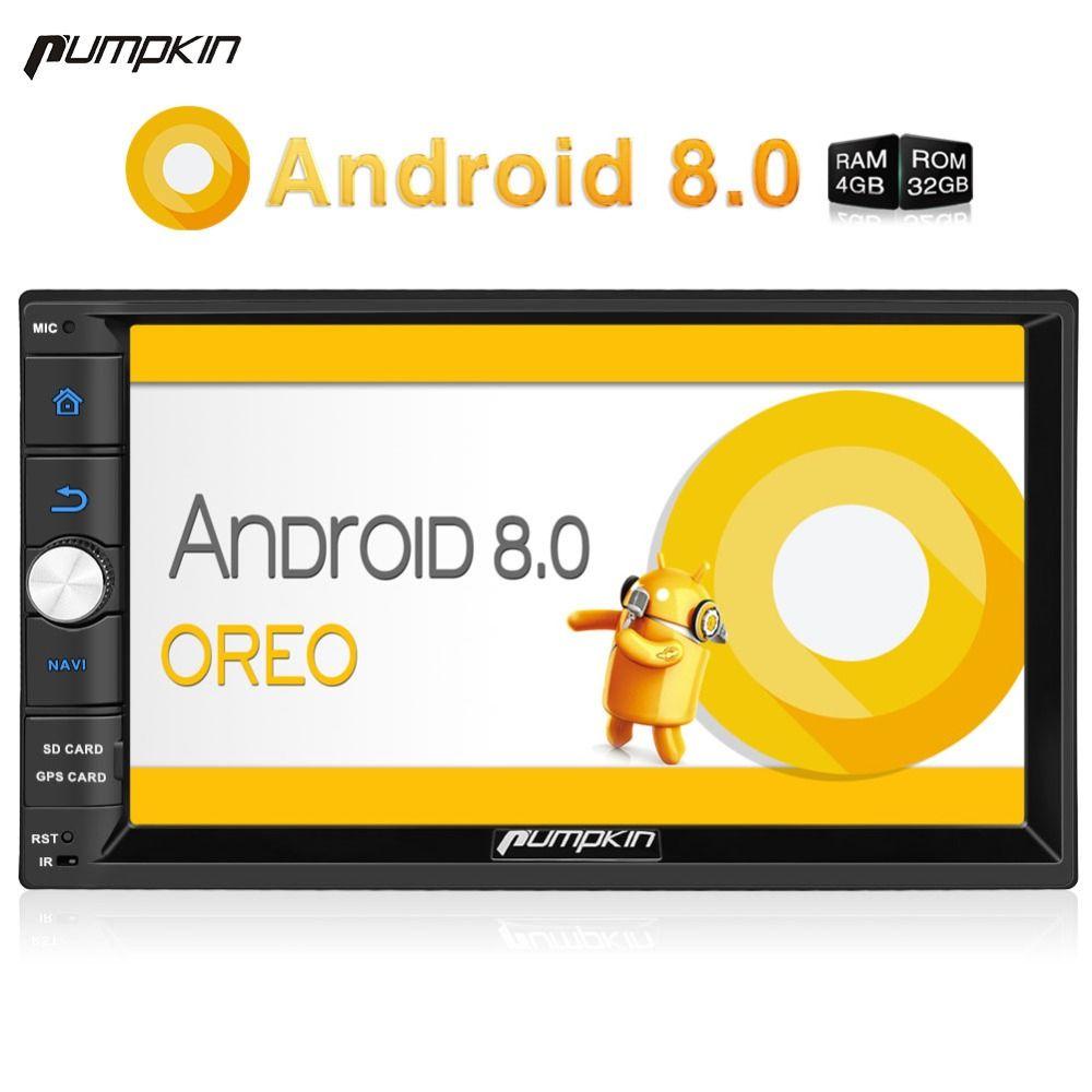 Pumpkin 2 Din 7'' Android 8.0 Universal Car Radio No DVD Player GPS Navigation 4GB RAM Car Stereo FM Rds Wifi 4G DAB+ Headunit