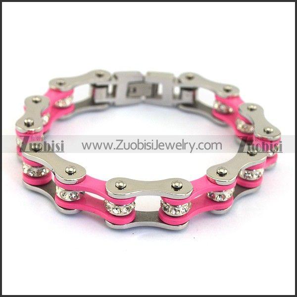 Модные нержавеющая сталь браслет мужской серебряный и розовый motor велосипед звено цепи длиной 195 мм