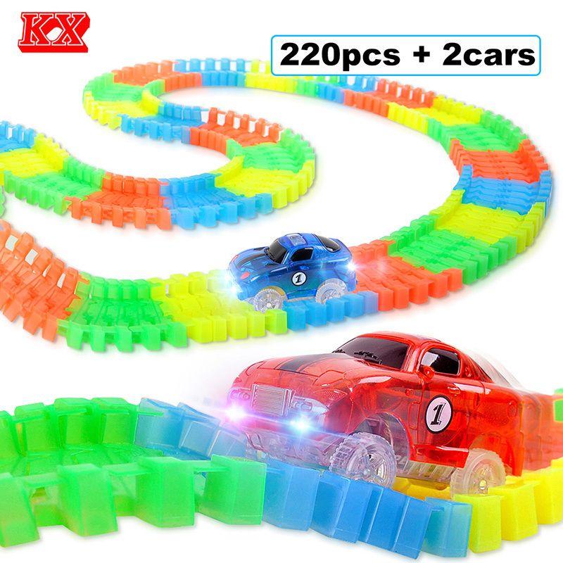 220 шт./компл. гибкие трек автомобиль игрушки с 2 мигающий гоночных автомобилей светятся в темноте DIY плате Слот автомобиля игровые наборы d53