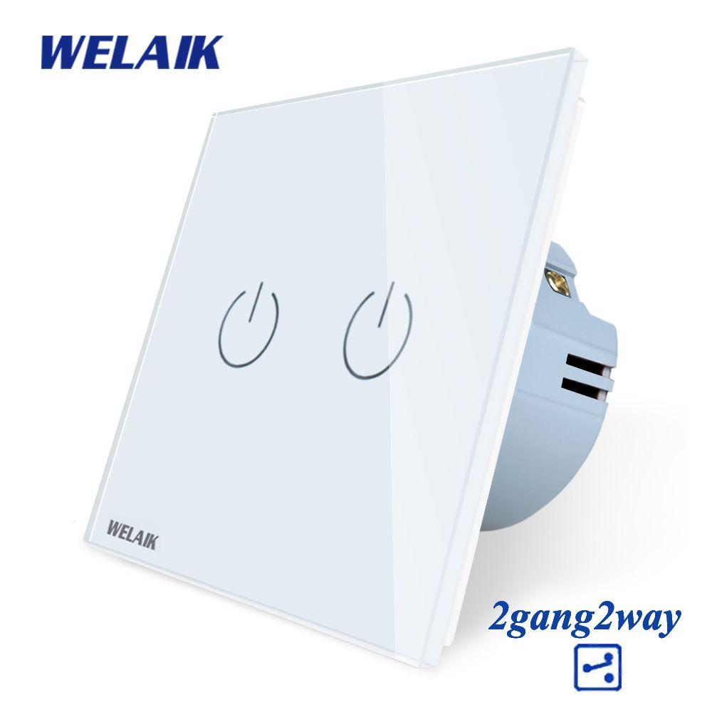 WELAIK Crystal-verre-panneau interrupteur-mur-interrupteur-EU tactile-interrupteur écran-applique murale-interrupteur 2gang-2way AC110 ~ 250V A1922CW/B