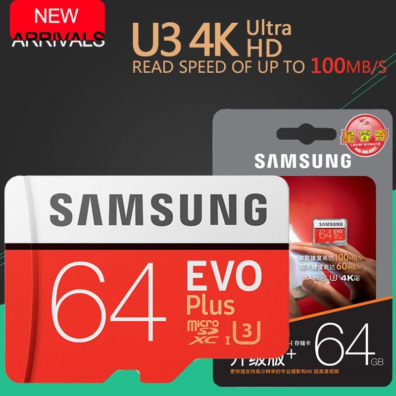 SAMSUNG EVO + Carte Mémoire 16 GB/32 GB/SDHC 64 GB/128 GB/256 GB/SDXC Micro SD TF Carte Class10 Microsd C10 UHS-1 Cartes Livraison Gratuite