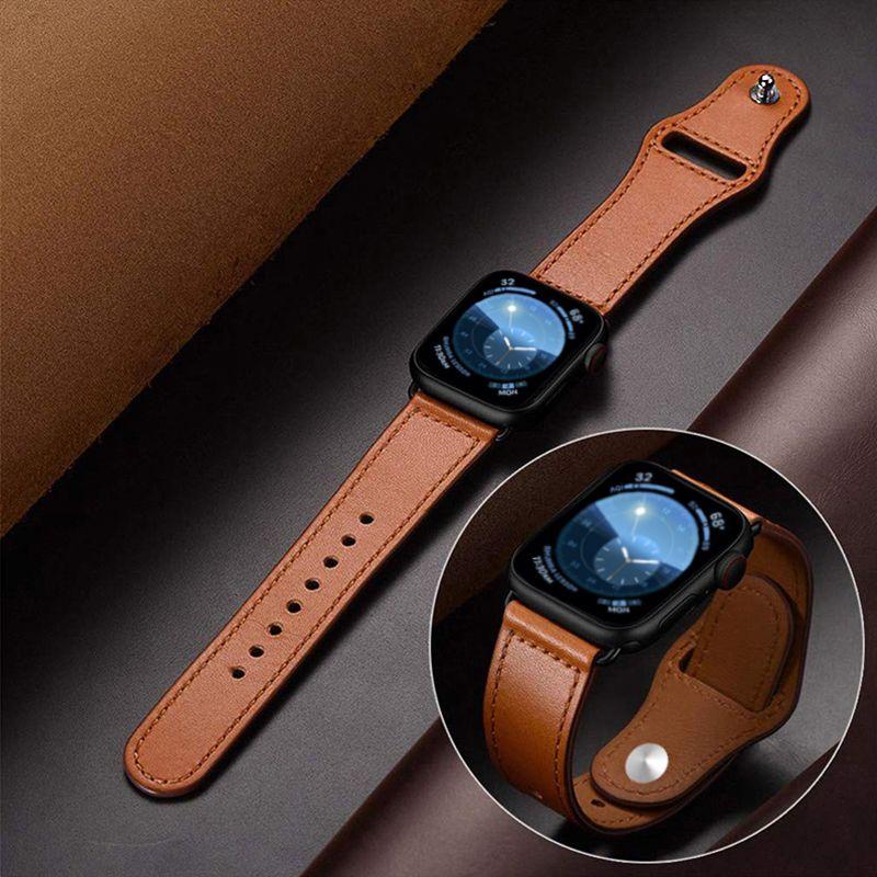 Bracelet en cuir véritable pour apple bracelet de montre 42mm 44mm montre apple 4 38mm 40mm iwatch 3/2/1 bracelet de remplacement correa