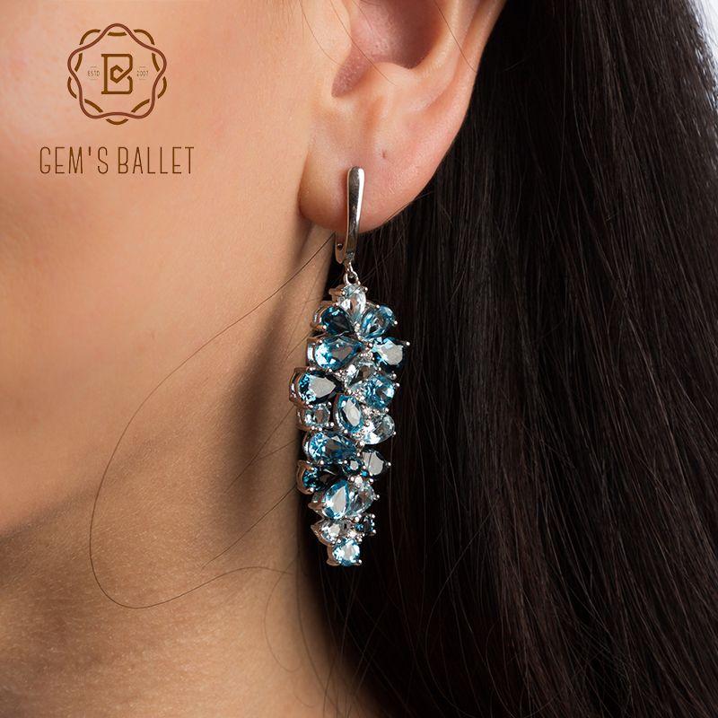 GEM'S BALLET Naturel Londres Bleu Topaze Pur 925 en argent sterling Boucles D'oreilles Mix Pierres Précieuses Boucles D'oreilles Bijoux De Mode Pour Les Femmes