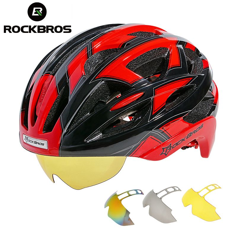 ROCKBROS Bicycle Bike Cycling Helmet EPS+PC Material Ultralight Mountain Bike Equipment 32 Air Vents With 3 Lenses Size:56-62cm