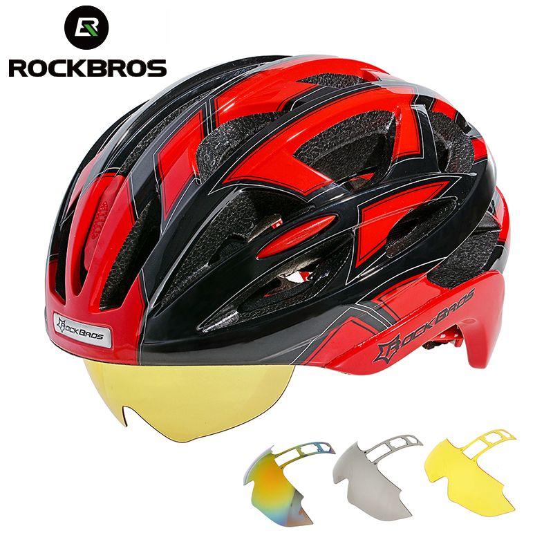 ROCKBROS Radfahren Fahrrad Fahrrad Helm EPS + PC Material Ultraleicht Mountainbike Ausrüstung 32 Air Vents Mit 3 Linsen Größe 56-62 cm