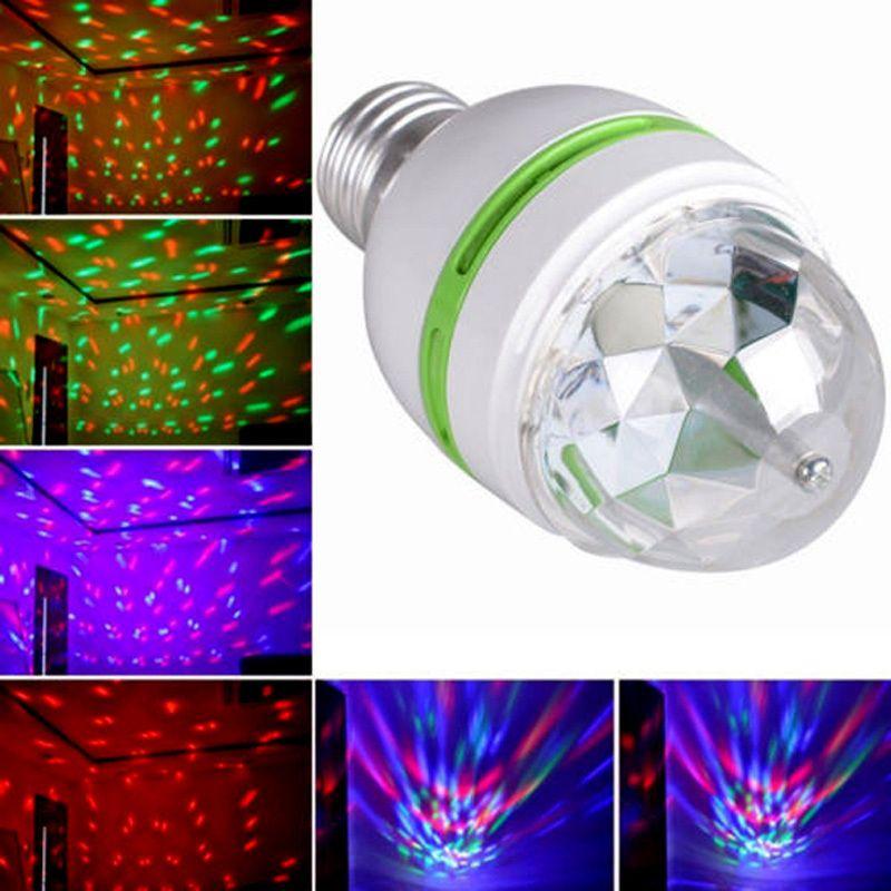 Heiße Verkäufe AC85-260V E27 3 Watt Bunte Auto Rotating RGB Led Birnen-lampen-partei-stadiums-licht Disco Club KTV