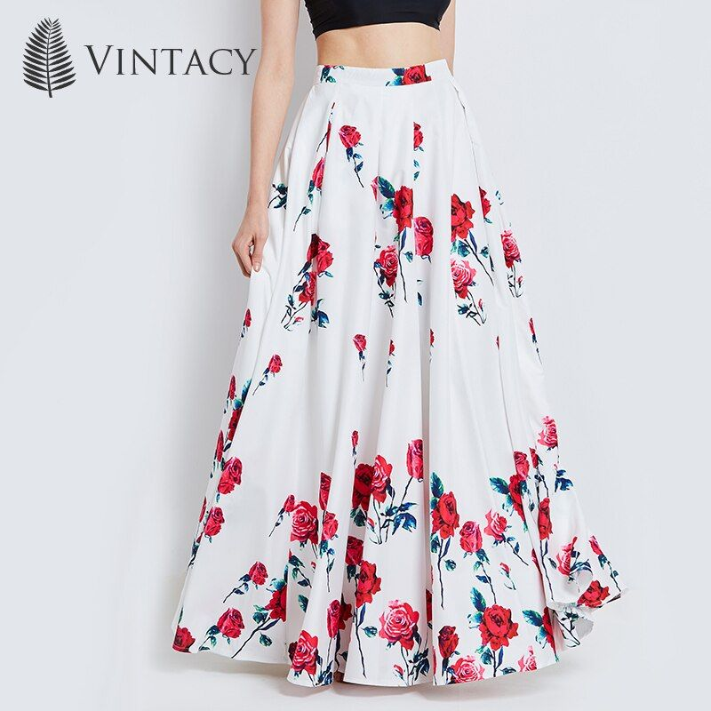 Vintacy Long Skirts for Women White Print Floral Red Rose Pleated Maxi Skirts Full Ball Grown Party Plus Size High Waist Skirt