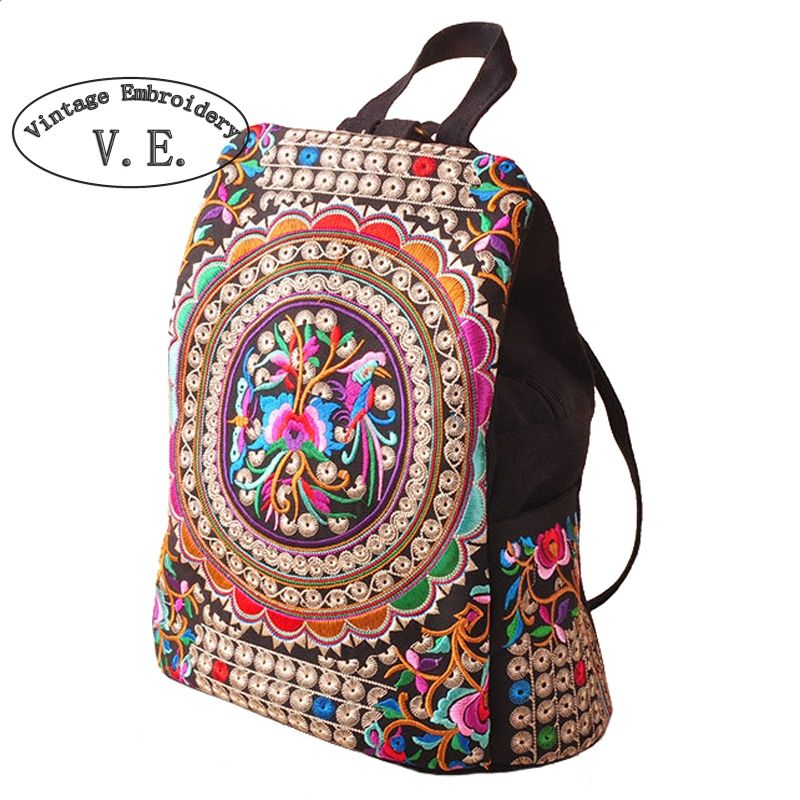 Vintage broderie ethnique toile sac à dos femmes à la main fleur brodé voyage sacs cartable sacs à dos sac à dos Mochila
