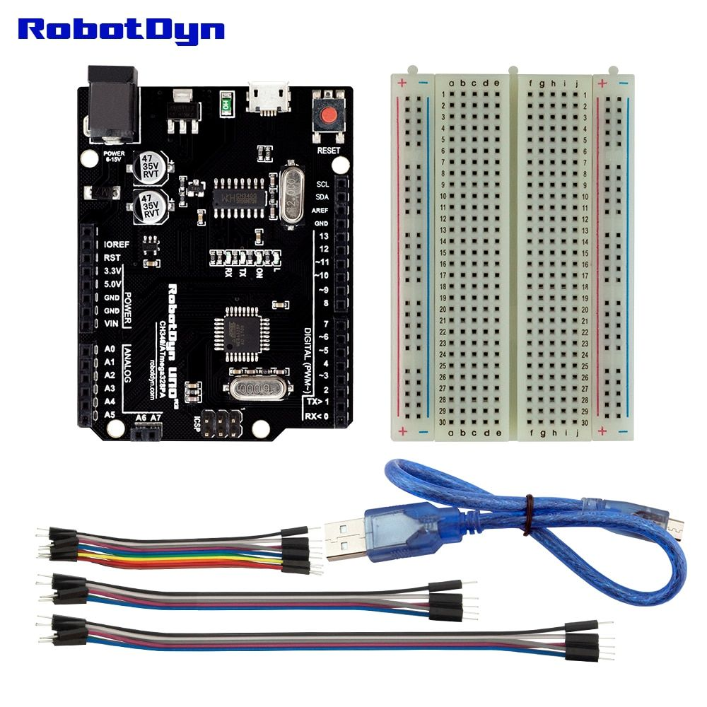 Uno R3 Minimal KIT compatible for Arduino Uno R3 KIT projects, with breadboard and jumper wires, USB cable