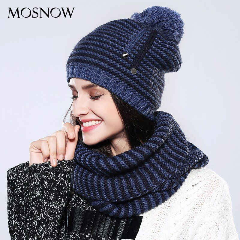 MOSNOW Women Hat And Scarf Set Striped Cotton Acrylic Pompom Fashion 2017 High Quality Knitted Beanies New  Hat Female   #MZ742