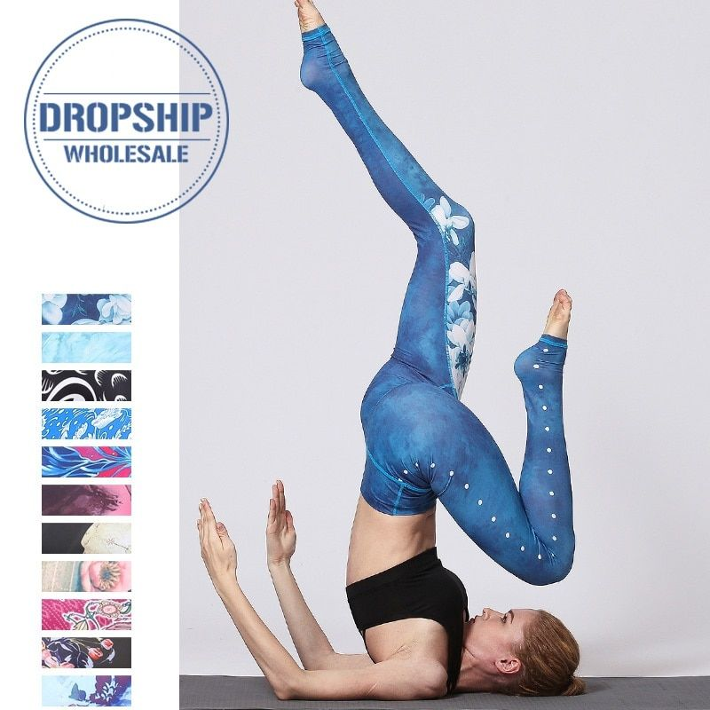 Vintage Fitness Yoga pantalon mince taille haute Sport Leggings gymnastique filles élastique imprimé collants pour courir Jogging ventre contrôle
