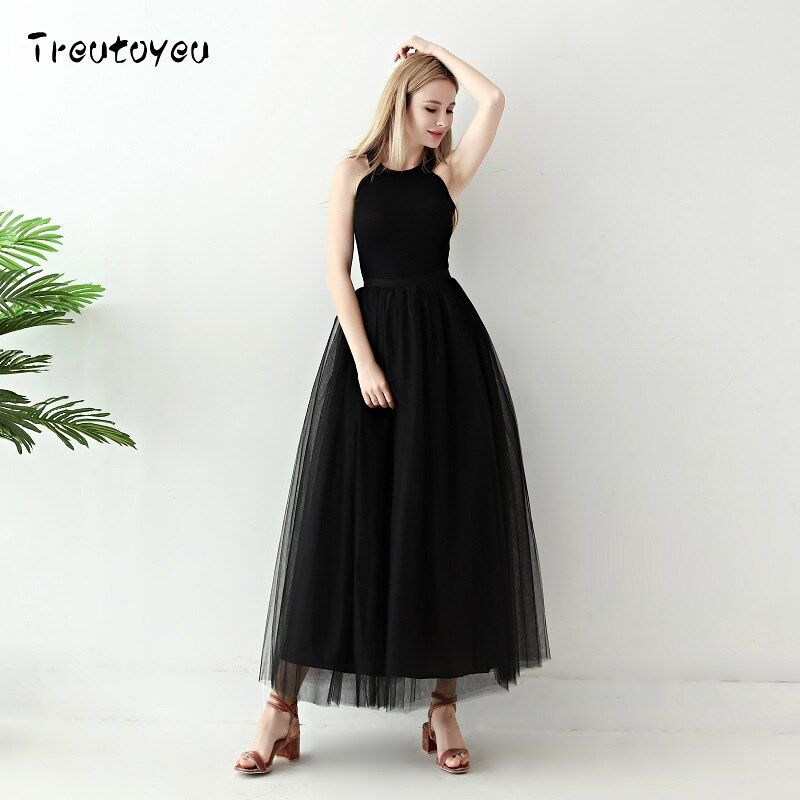 5 couches longues Tutu jupes 2018 été mode femmes princesse fée Style Voile Tulle jupe Bouffant Bouffant jupe de mode