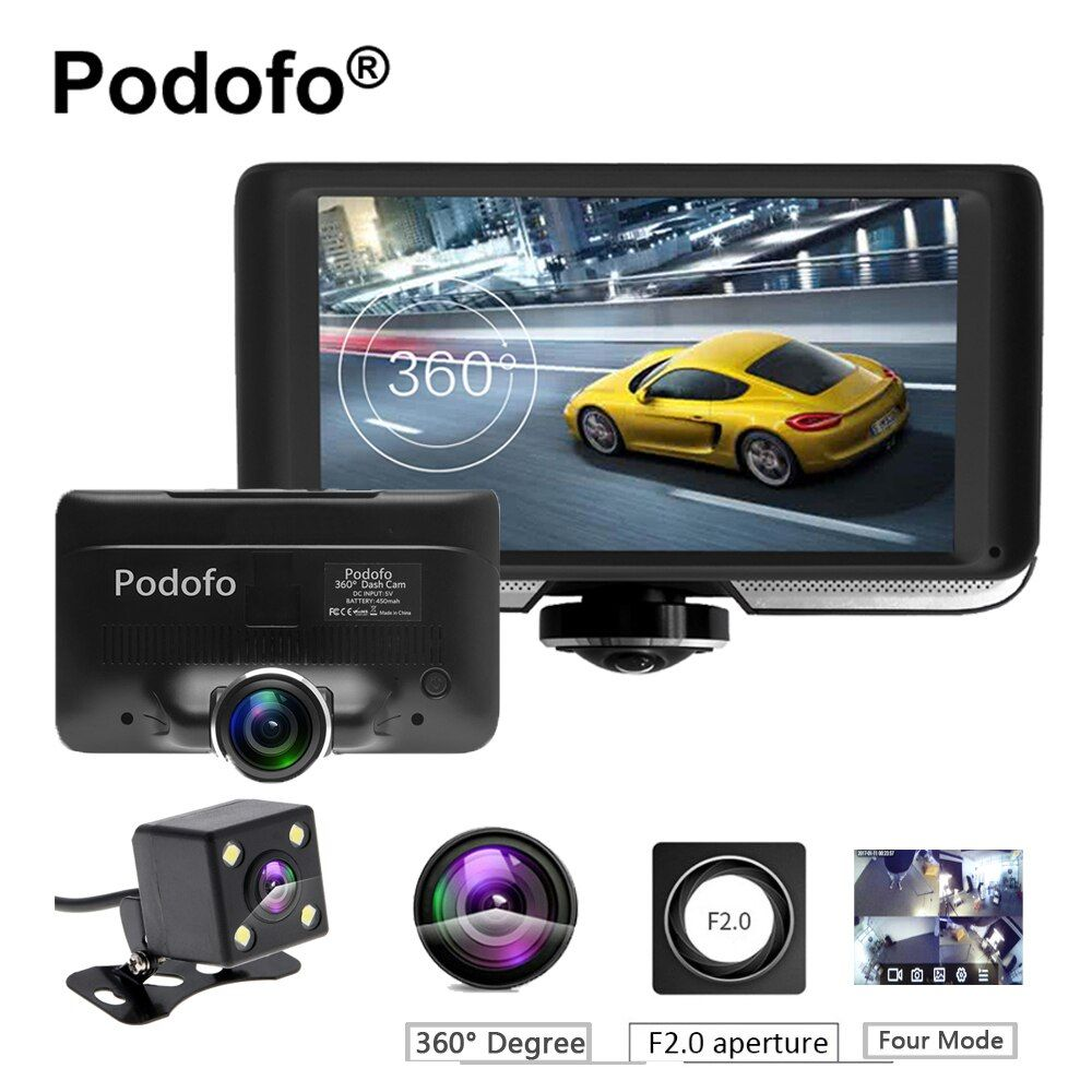 Podofo 4.0'' IPS Touch Screen 360 degree Full HD Car DVR Camera Dual Lens Dash Cam with Rear View Registrar Fisheye Lens Dvrs