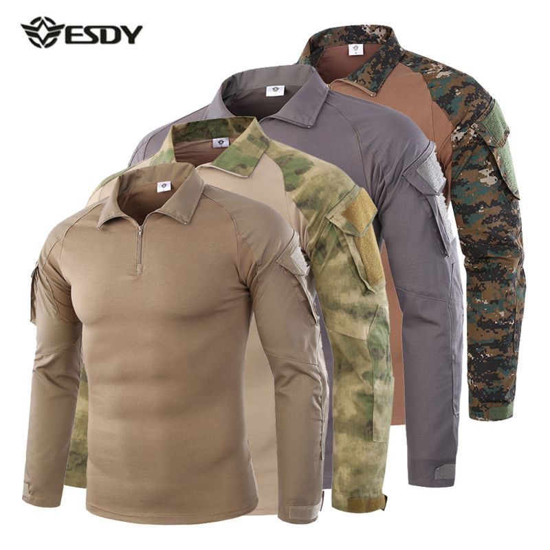 Men Tactical Shirt CS Shooting Camouflage Combat Outdoor Quick Dry Fishing Clothing Hiking Training Camping Hunting Clothes