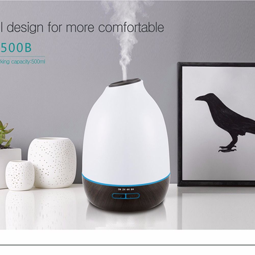 INVITOP 500ml Air Humidifier Wood Grain Ultrasonic Essential Oil Diffuser Aroma Air Purifier 7 Color LED Change 110v-240v