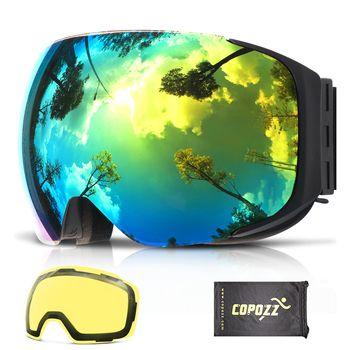 Copozz Магнитная лыжные очки со сменными желтые линзы анти-туман и uv400 защита для сноуборда очки для взрослых Для мужчин Для женщин