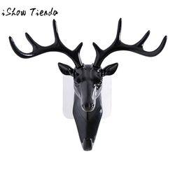Cabeza de los ciervos Animal autoadhesivo bastidores pantalla ropa percha gancho tapa decoración Show Wall bolsa llaves titular pegajoso