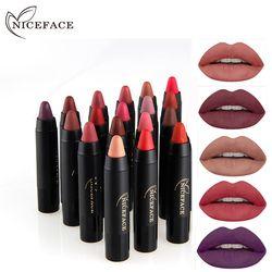 NICEFACE Lipstick Pencil Cosmetics Matte Lips Pigment Nude Lipstick Long Lasting Matte Lipstick Pencil  Makeup