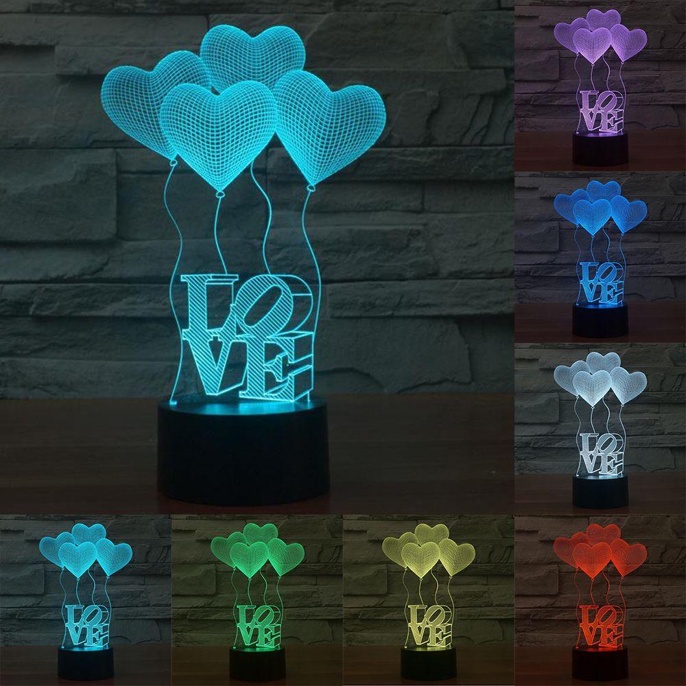 Cuatro corazón amor creativo 3D ilusión lámpara colorido decoloración lámparas LED del amor del corazón de acrílico boda atmósfera lámpara IY803319