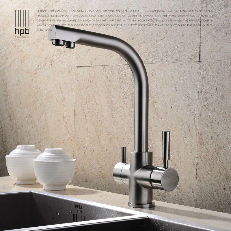 HPB laiton Chrome brossé poli deux fonctions 2 poignée cuisine évier mélangeur robinet d'eau potable robinet pivotant 360 degrés HP4302