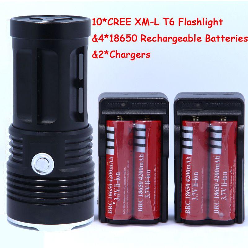 Neue 20000 lumen High Power 10T6 LED 10 x CREE XM-L T6 LED Taschenlampe Lampe Licht Laterne mit 4 * Batterien & 2 * Ladegeräte