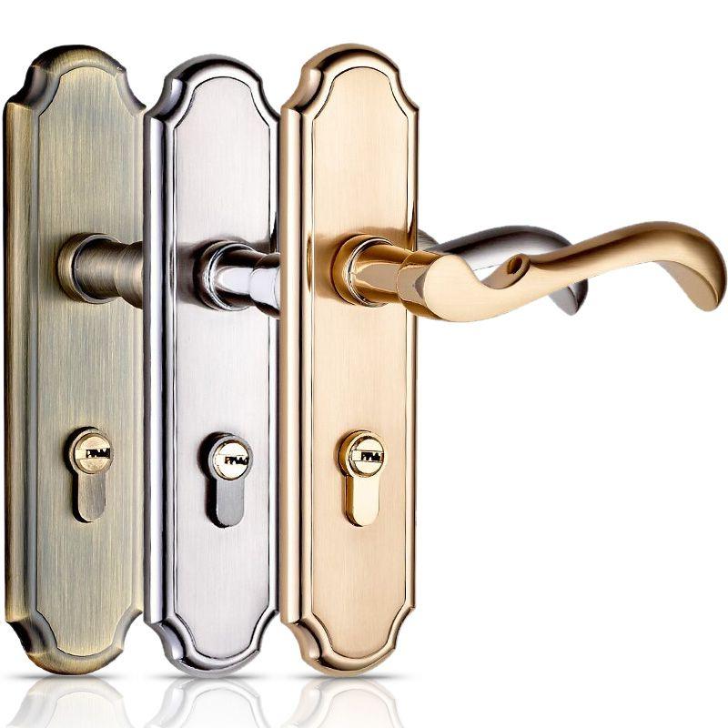 Hochwertige Türschloss Schlafzimmer Tür Innenraumtür Massivholz Tor Schlösser Türgriff Einfache Doppelschlosszunge, mit 3 Tasten
