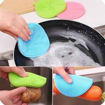 Фруктовая растительная пища, силиконовая губка для мытья посуды, антибактериальный кухонный чистящий коврик, чистящий инструмент для овощ...