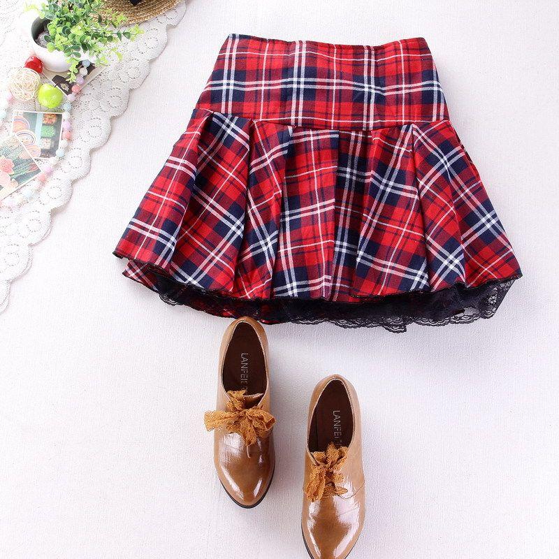 8 couleurs haute qualité école uniforme jupe mode plaid jupe courte plissée dentelle jupe étudiant fille japonais preppy mini jupe