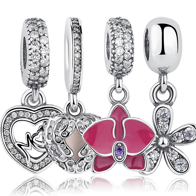 925 Sterling Silver Angel Wings Radiant Orchid Dazzling Daisy Pendants & Beads Fit BISAER  Charms Bracelet Heart Jewelry