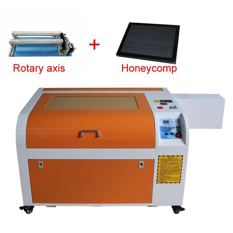 6040 CO2 laser metall fräsen gravur maschine 6040 60 W update von 3040 laser rohr laser cutter mit drehachse und waben