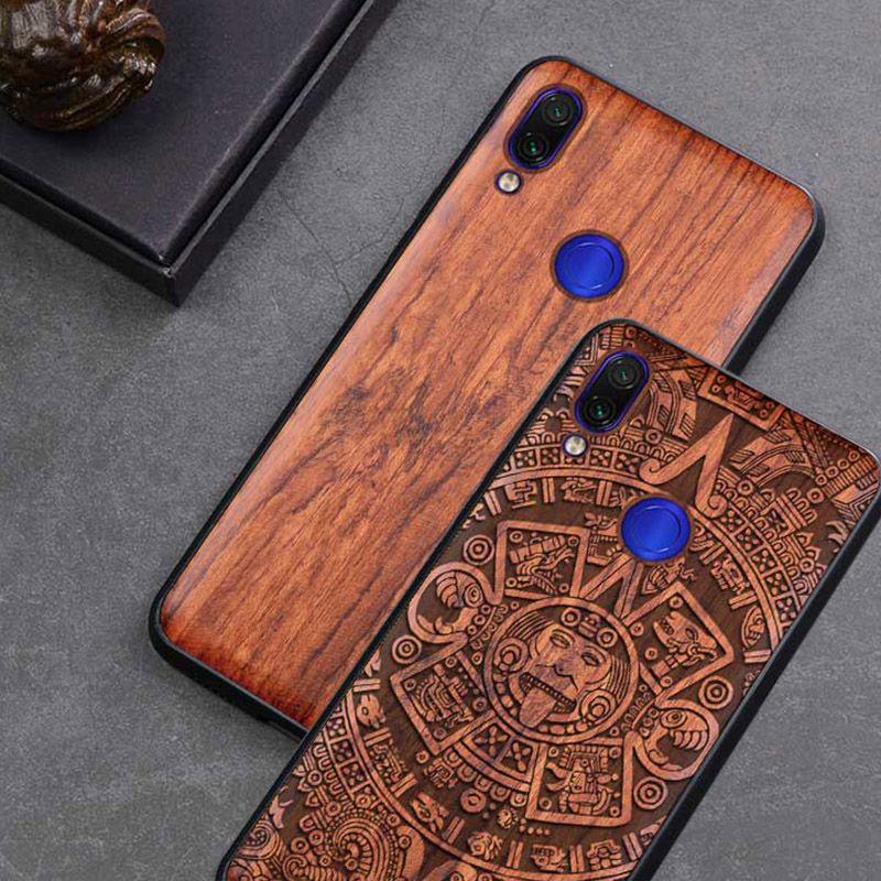 Coque Redmi Note 7 en bois véritable funda pour Xiaomi Redmi Note 7 Note7 Pro coque en palissandre TPU antichoc coque arrière pour téléphone