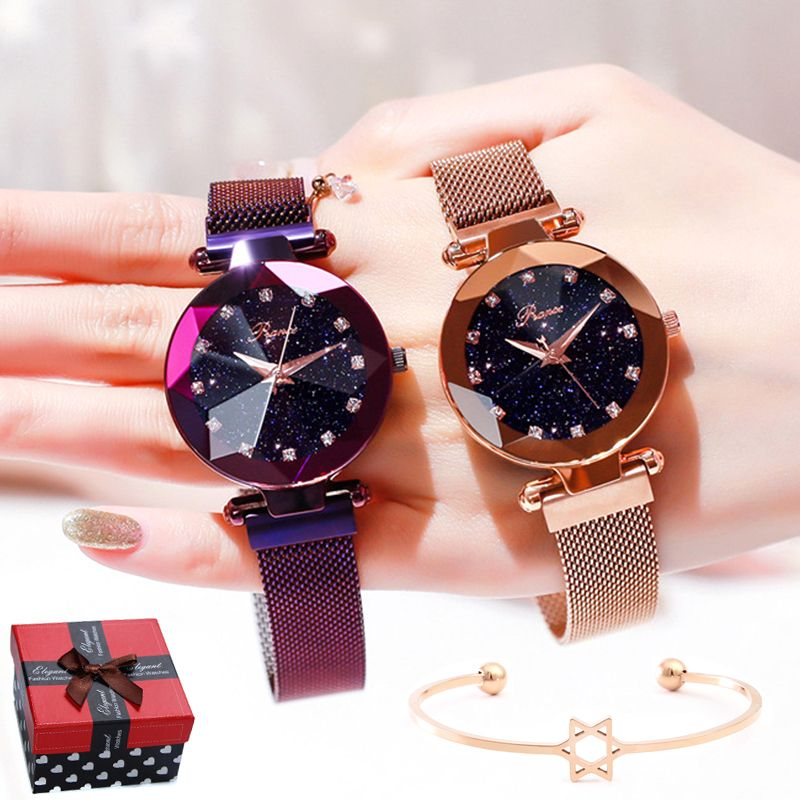 Luxury Brand Ladies Watch Star Sky Diamond Dial Women Bracelet Watches Magnetic Stainless Steel Mesh Wristwatches zegarek damski