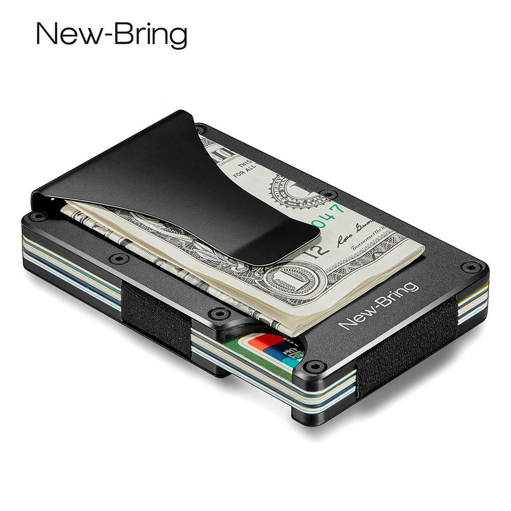 NewBring métal Mini pince à billets marque mode noir blanc carte de crédit ID titulaire avec RFID Anti-voleur portefeuille hommes