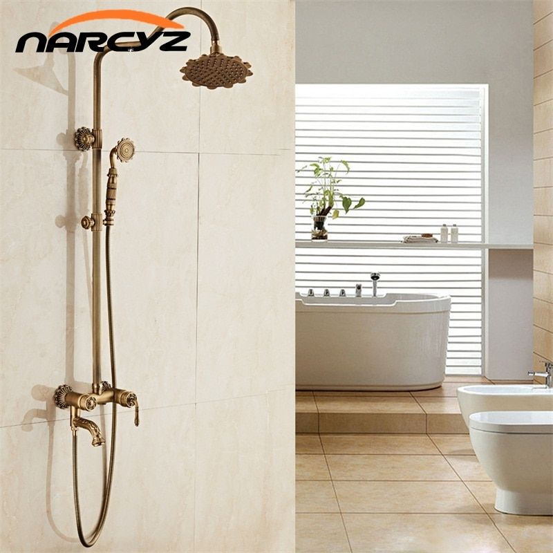 New Arrival luxury Retro Carved Bathroom Wall Mounted Carving Hand Held Antique Brass Shower Head Kit Shower Faucet Set XT341