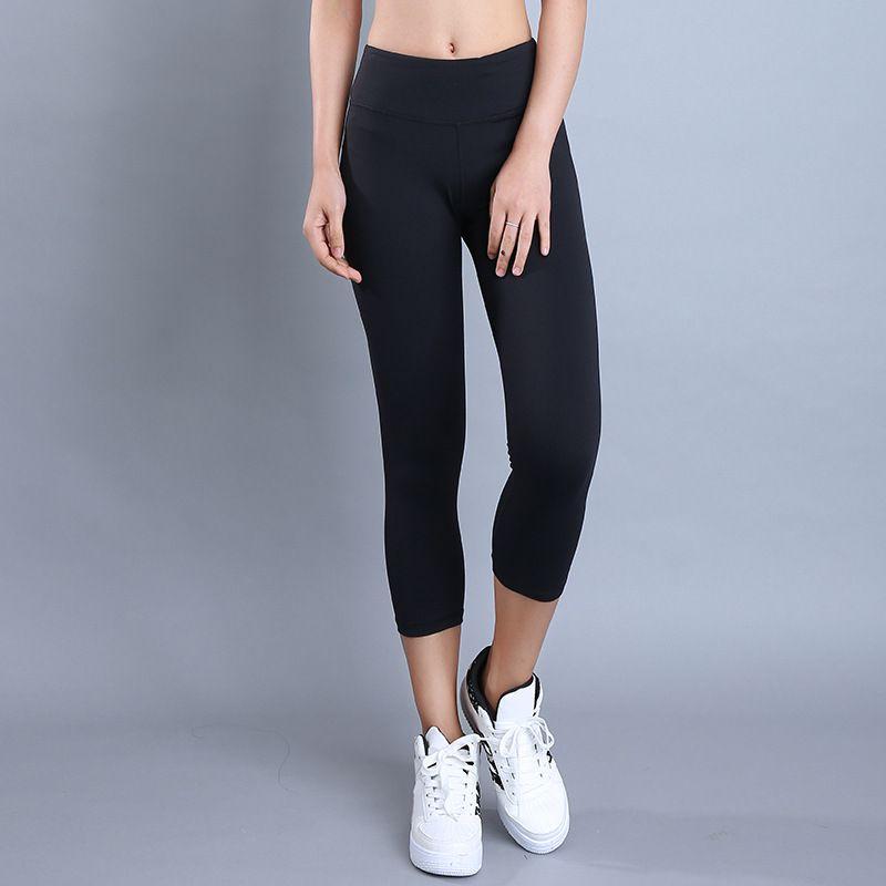 Eshtanga Capris Women sports crop top quality Solid running capris Thick Material Bodybuilding exercise Yoga skinny leggings