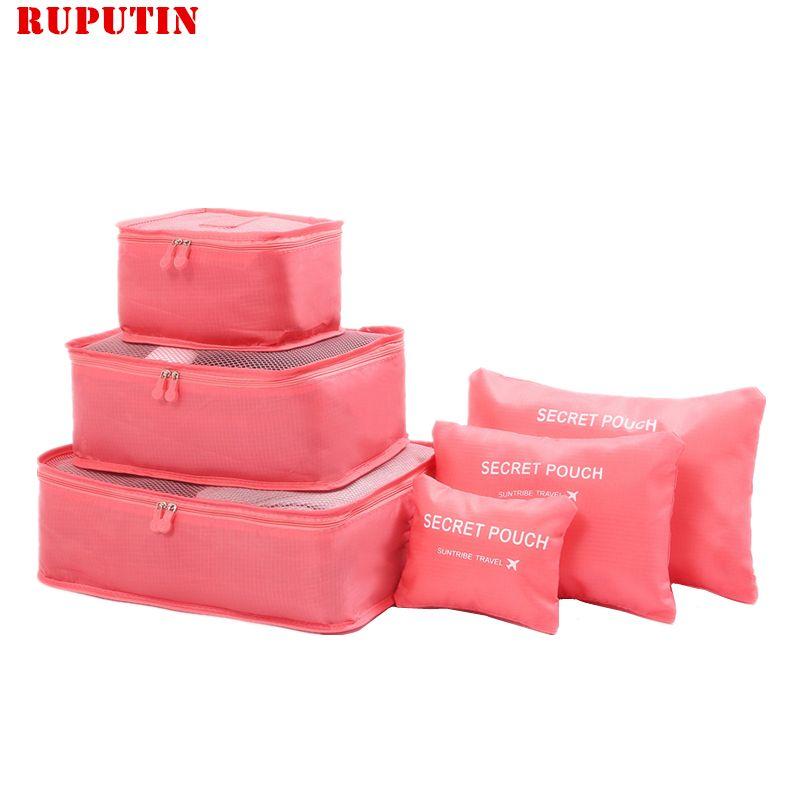 Rupoutine nouveau 6 pièces/ensemble de haute qualité Oxford tissu Ms voyage sac en maille dans le sac organisateur de bagages emballage Cube organisateur pour vêtements