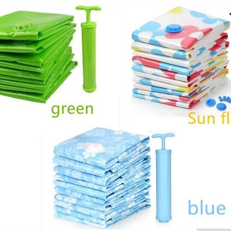 Vacuum Storage Bag+<font><b>Pump</b></font>/ 11pcs/pack Vacuum Clothes Storage Bags Quilt Compressed Storage Space Bag Two Colors Storage Holders