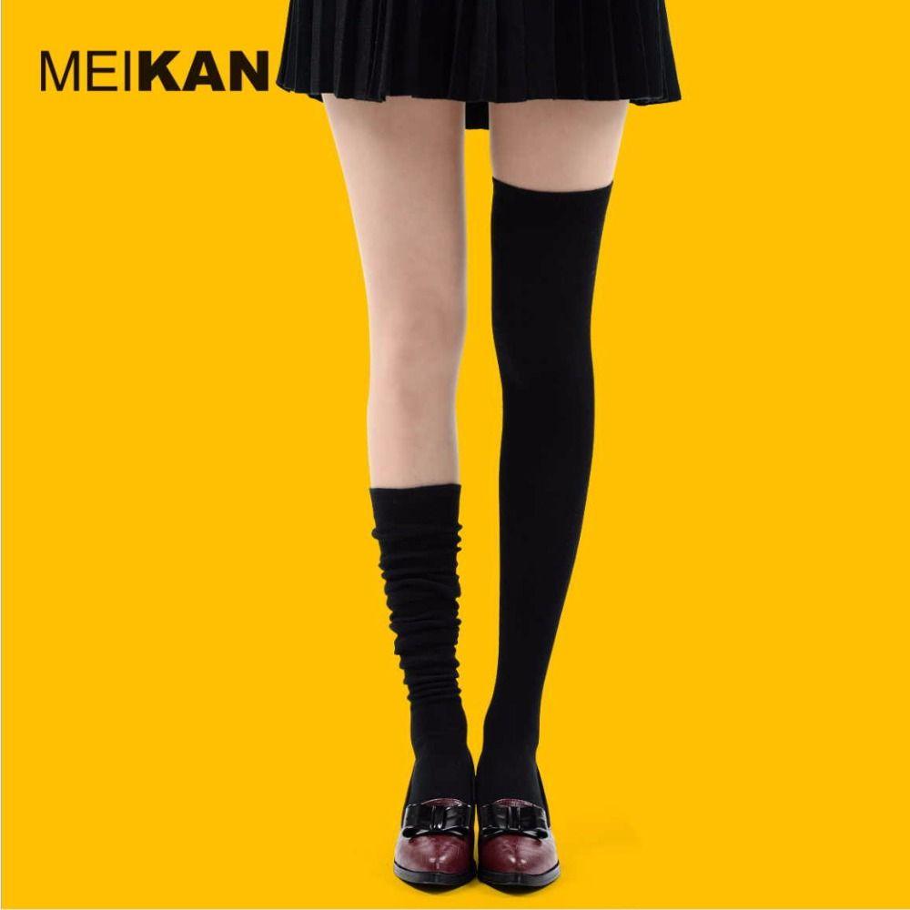 Haute Qualité Peigné Coton-dessus du genou bas de Femmes Mince Solide coréenne style cuisse haute bas 35-38 confortable médias