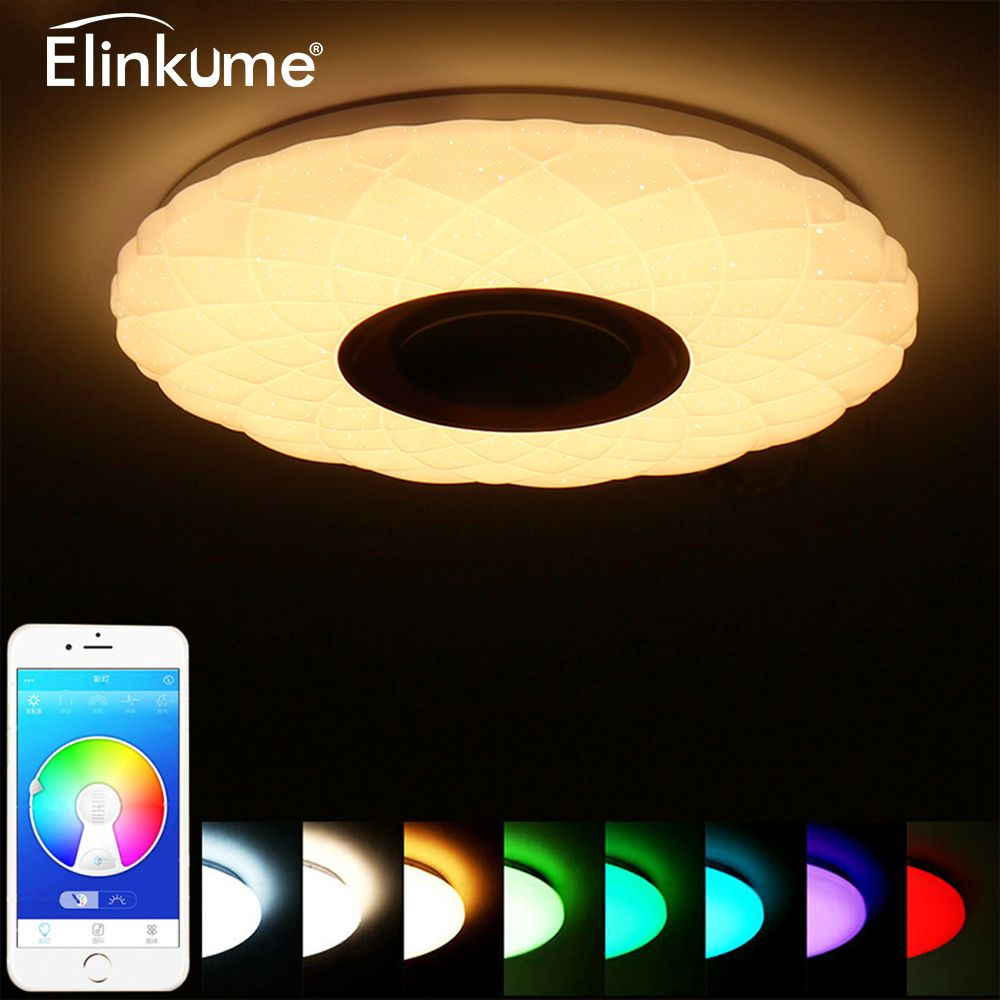 LED Music Ceiling Light Bluetooth 36W 85-265V Dimmable Ceiling Lamp Starry sky 3D RGB Home Party Light with APP Remote Control
