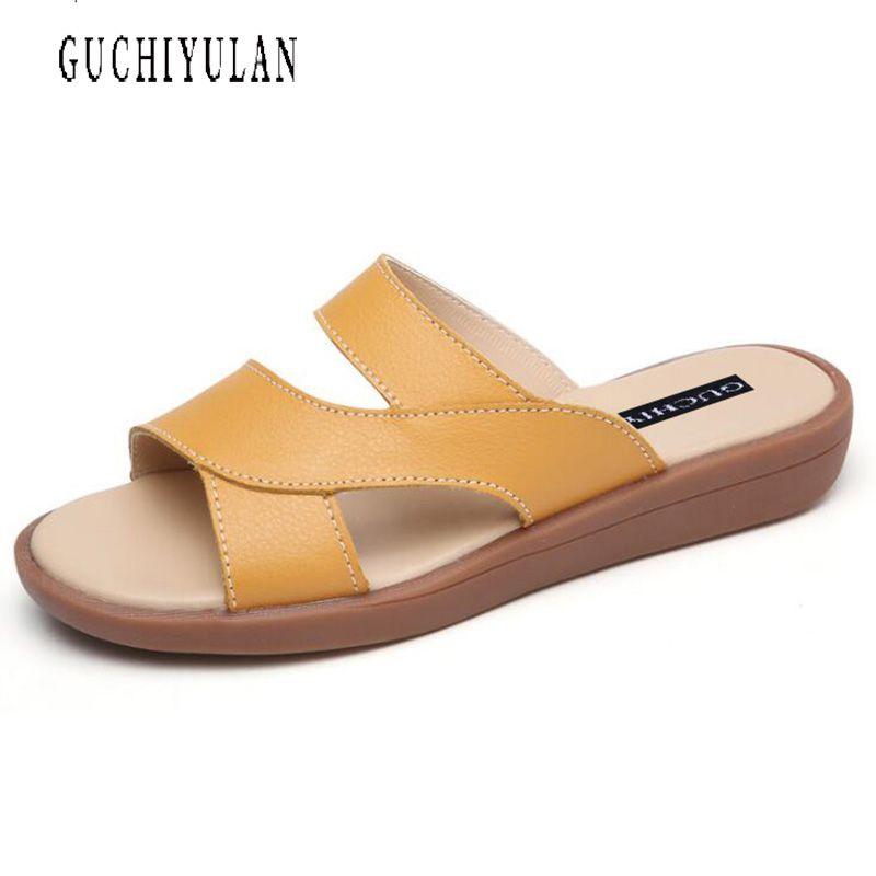 New Women Sandals Genuine Leather Plus Sizes 10 Fashion Summer Classics Sandals Women party Shoes Black Red Sandals nature cow