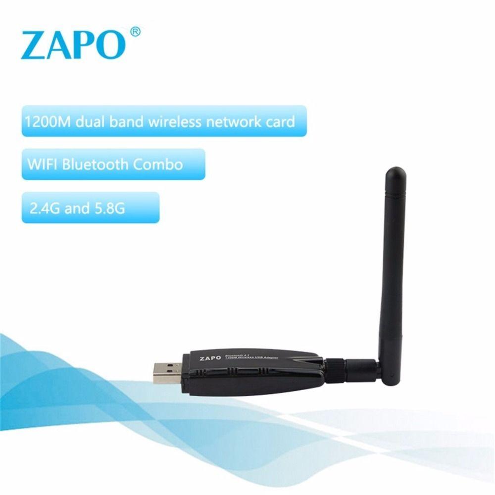 ZAPO 1200 Mbps WIFI 2,4 GHz und 5,8 GHz Intelligenz Dual Band AC Wireless Network Adapter mit Bluetooth 4,1 USB 3.0