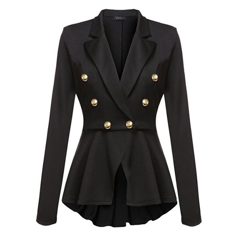 Womens Autumn Long Sleeve Jacket Turn Down Collar Double-breasted Jacket Coat Work Office Business Blazer Jacket Suit feminino