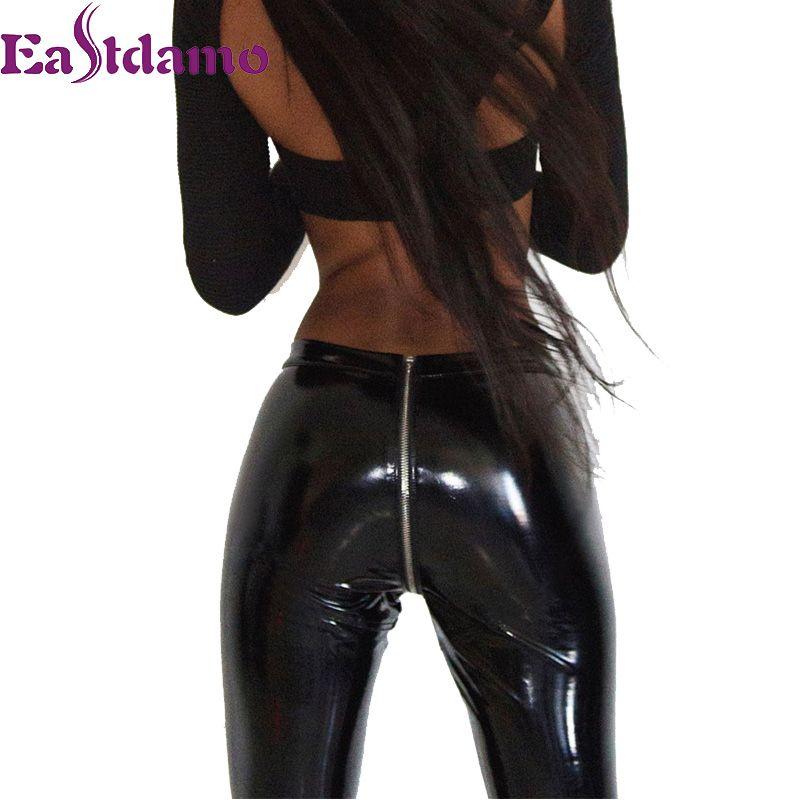 New 2017 Womens Sparkling Leather Pants Zipper Faux PU Leather Leggings High Waist Skinny Leggings Black Red Leggings Leggins