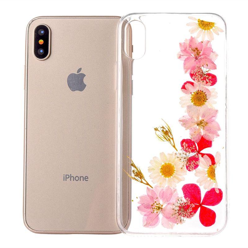Fleurs séchées Réel Cas Pour iphone 6 6s plus Pour iphone 7 7 plus 8 8 Plus X XS XR XS Max Transparent Souple TPU Cas couverture arrière