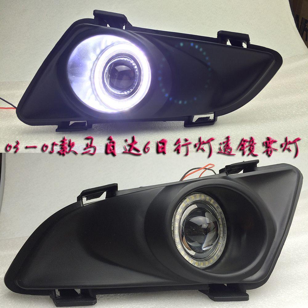 eOsuns Innovative COB angel eye led daytime running light DRL + halo Fog Light + Projector Lens for mazda 6 2003-2005