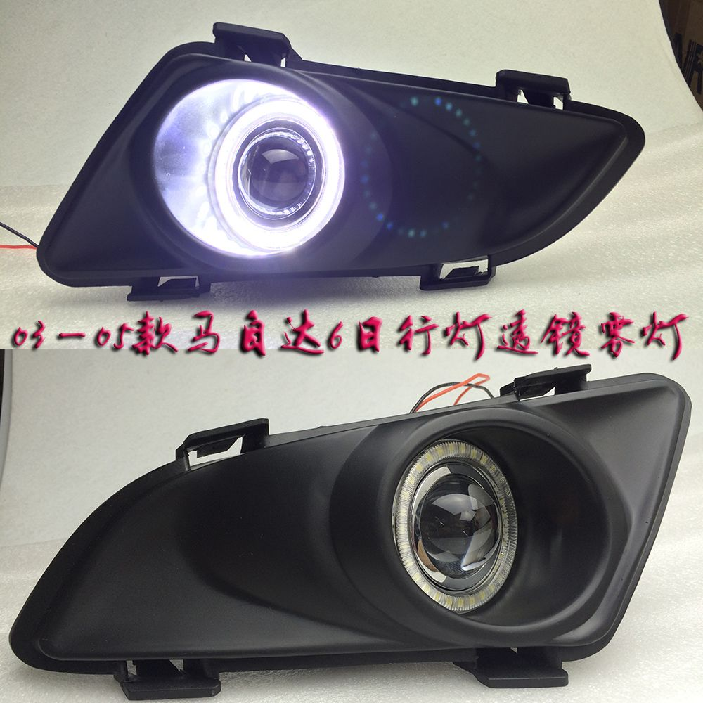 eOsuns Innovative COB angel eye led daytime running light DRL + halo Fog Light + Projector Lens for mazda 6 2003-2005